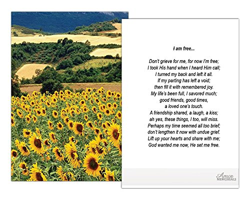 (Funeral Memorial Prayer Cards (50 Cards) FPC1011EN Sunflower field (Select Desired)