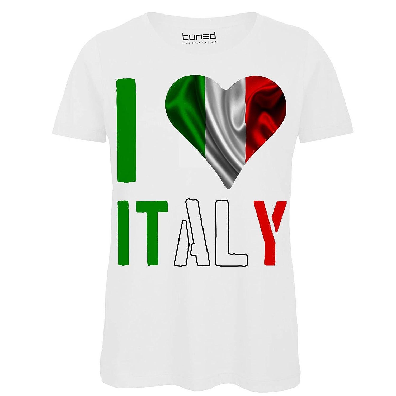 T-Shirt Divertente Donna Maglietta con Stampa Tricolore Italia I Love Italy Tuned CHEMAGLIETTE
