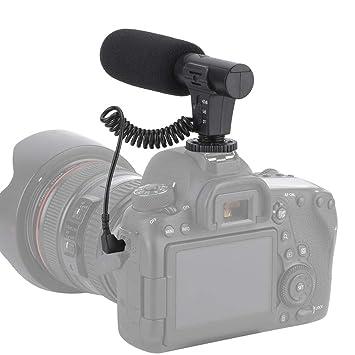 Oumij Micrófono de cámara, Micrófono de Condensador estéreo ...