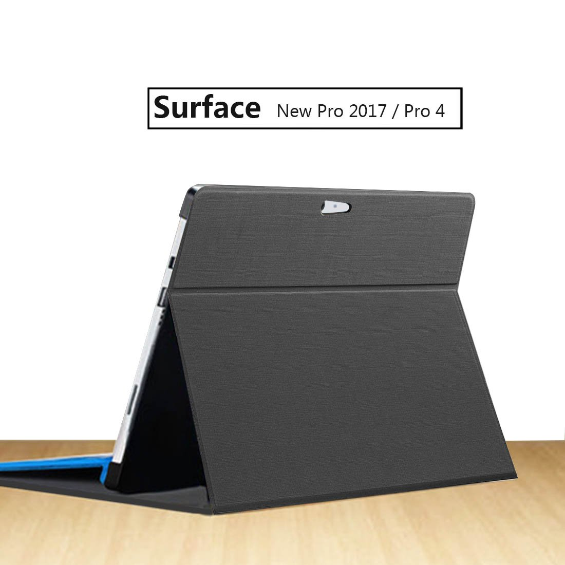 Megoo New Surface Pro/Pro 4 Folio Case - Slim Fit [Multi-Angle Viewing] [Magnetic] Folio Stand Cover for Microsoft Pro 4 & New Surface Pro (2017) / Compatible with Type Cover Keyboard - Black