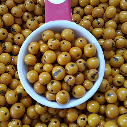 acai nut round beads 8-10mm Yellow, acai palm tree seed beads 8-10mm round. (100)