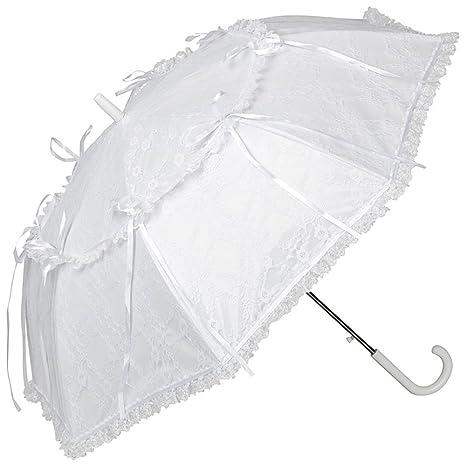 VON LILIENFELD Paraguas Sombrilla nupcial Boda mujer automática moda Luna blanco