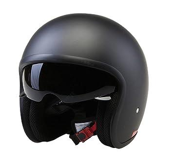a1b7ad6e7 Amazon.es: Casco de la Motocicleta Jet Casco Cascos Abiertos VIPER RS-V06  Casco de Moto Con Visera Nuevos Colores (M, Matt Negro)