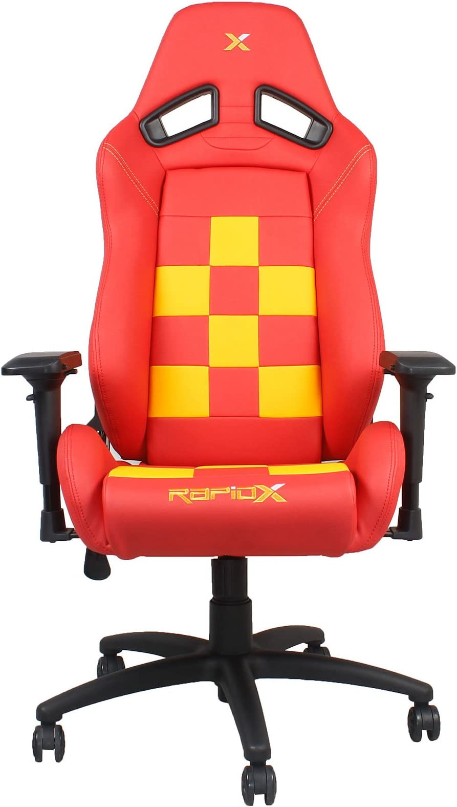 5622e01097d27 Amazon.com  Finish Line Yellow on Red Checkered Flag Pattern Gaming ...