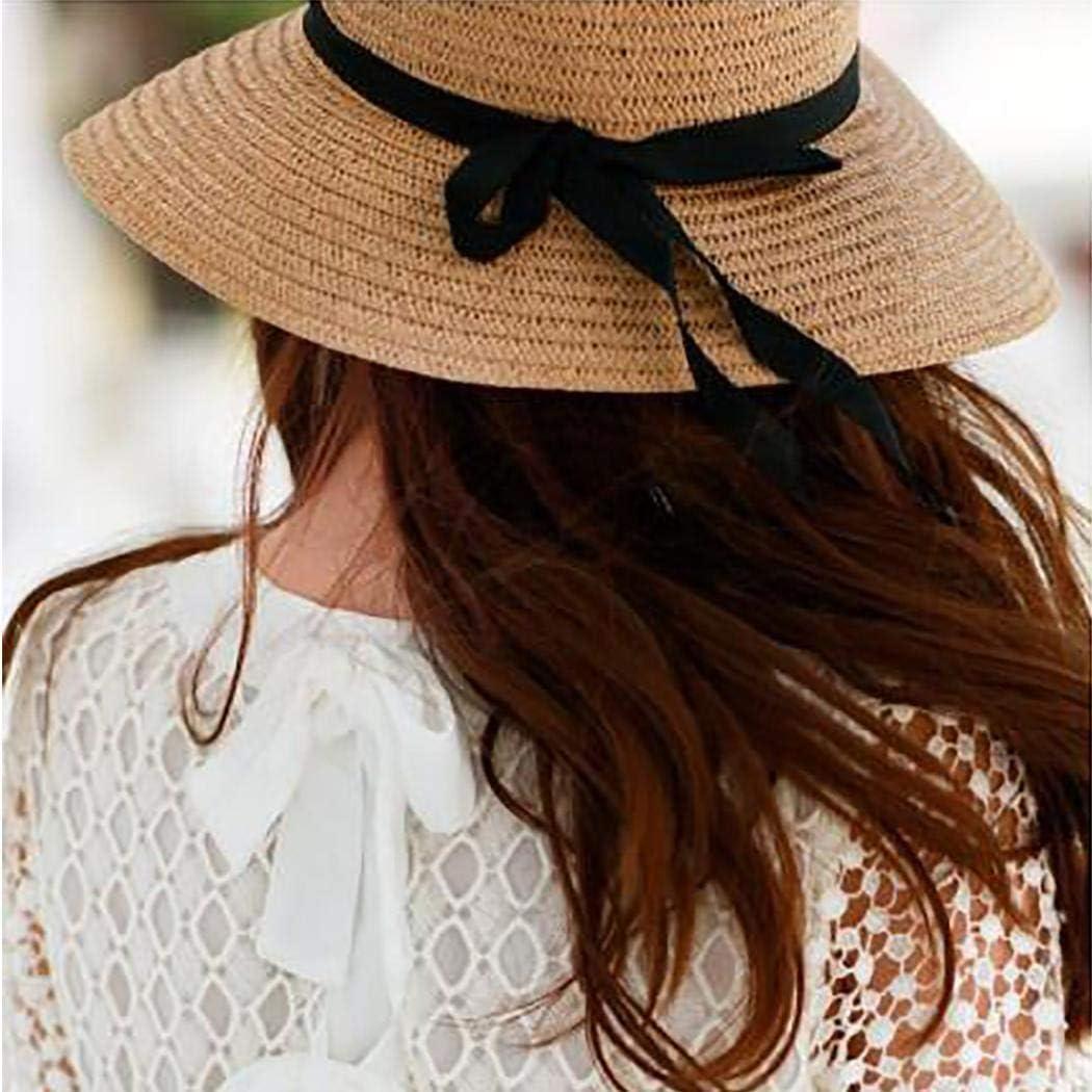 TEXXIS Women Fashion Visor Hat Bow Ribbon Beach Straw Hat Sun Hat Sun Hats