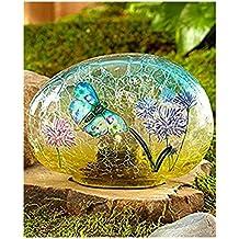 Solar Glass Garden Stone Butterfly