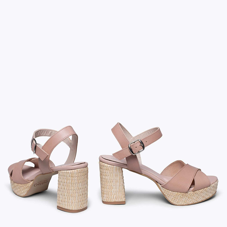 Zapatos miMaO. Zapatos Piel Mujer Hechos EN ESPAÑA. Sandalia Plataforma Cómoda. Sandalia Elegante de Piel con Plantilla Gota Ultra Confort Gel Nude