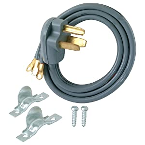 Eastman 61249 3-Prong Electric Dryer Cord, 30 Amps, 4 Ft Length, Grey