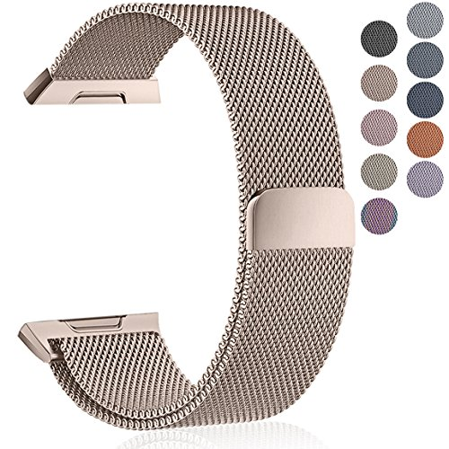 Maledan Metal Bands Compatible with Fitbit Ionic, Stainless Steel Milanese Loop Replacement Accessories Bracelet Strap with Magnet Closure for Fitbit Ionic Smart Watch, Champagne, Small