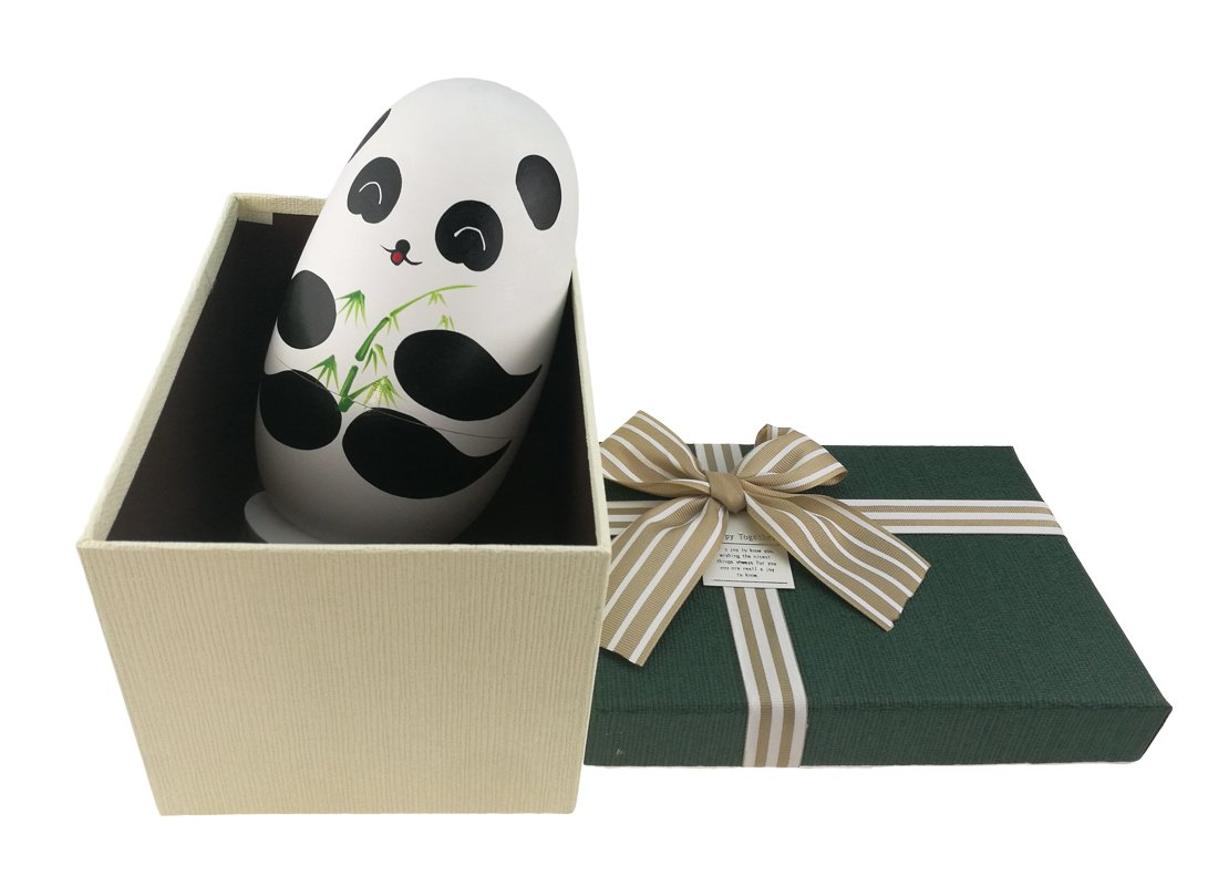 Apol Cute Panda With Bamboo Egg Shape Handmade Wooden Russian Nesting Dolls Matryoshka Doll Set 10 Pieces in a Exquisite Gift Box With Bow For Home Decoration Kids Toy Christmas Birthday Easter Gift by Apol (Image #2)