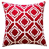 SLOW COW Cotton Embroidery Throw Pillow Cover, Red Floral Patten Decorative Accent Pillow Cover for Sofa, 18x18 Inches, 1PC.