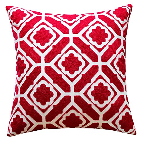 SLOW COW Cotton Embroidery Throw Pillow Cover, Red Floral Patten Decorative Accent Pillow Cover for Sofa, 18x18 Inches, 1PC. by SLOW COW