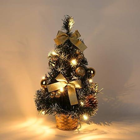 Albero Di Natale 40cm.Piccolo Albero Di Natale Con Luci Mini Desktop Palla Dell Albero Di Natale Per La Decorazione Domestica Del Partito 40cm Amazon It Casa E Cucina