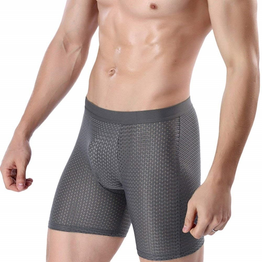 Zhuhaitf Mens Ice Silk Mesh Boxer Shorts Breathable Anti Chafing Long Leg Underpants Fitness Comfort Underwear