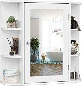 Tangkula Bathroom Cabinet, Single Door Wall Mounted Medicine Cabinet with Mirror(4 Tiers Inner Shelves)