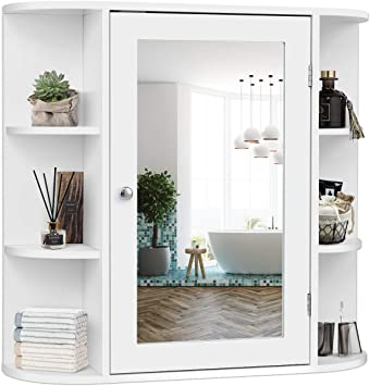 Tangkula Bathroom Cabinet Single Door Wall Mounted Medicine Cabinet With Mirror 4 Tiers Inner Shelves Kitchen Dining