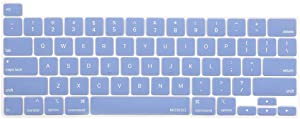 MOSISO Keyboard Cover Compatible with 2020 MacBook Pro 13 inch A2338 M1 A2289 A2251 & 2019 MacBook Pro 16 inch A2141 with Touch ID & Retina Display, Protective Silicone Skin, Serenity Blue