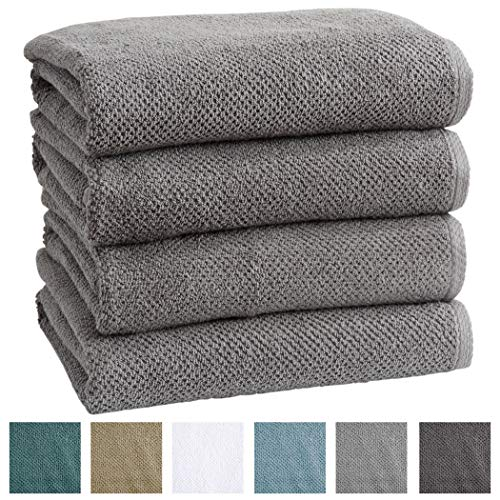 4-Pack 100% Cotton, Ultra-Absorbent Popcorn Bath Towels. 6 Elegant Solid Colors. Popcorn Weave. Acacia Collection. (Bath 4pk, Dark Grey)