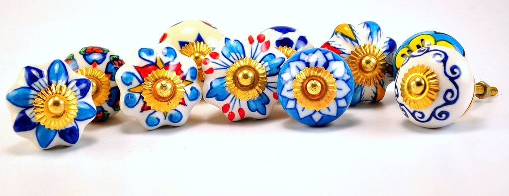 set of 10 blue white floral ceramic cupboard cabinet knobs drawer