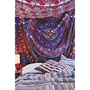 Amazon Lightning Deal 90% claimed: Handicrunch Multi- Coloured Mandala Tapestry, Indian Hippie Wall Hanging , Bohemian Bedspread, Mandala Cotton Dorm Decor Beach blanket
