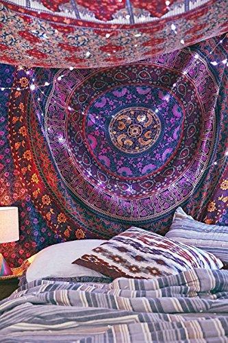 Amazon Lightning Deal 90% claimed: Handicrunch Multi- Coloured Mandala Tapestry, Indian Hippie Wall Hanging , Bohemian Bedspread, Mandala Cotton Dorm Decor Beach blanket