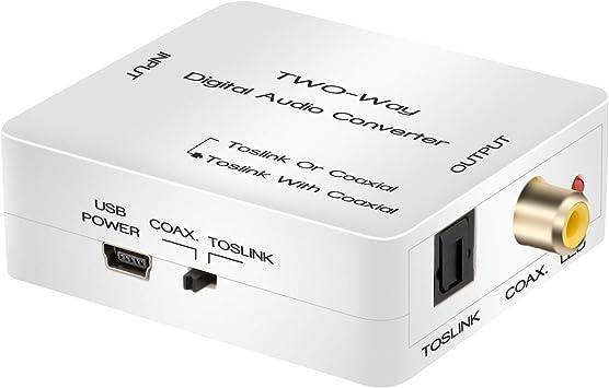 AMANKA Coaxial a Óptico Toslink SPDIF Convertidor Audio Digital 2-Way Audio Adaptador Convertidor Soporte DTS/Dolby-AC3 con Cable USB para PS4 Receptor de Satélite Xbox BLU-Ray HD TV: Amazon.es: Electrónica
