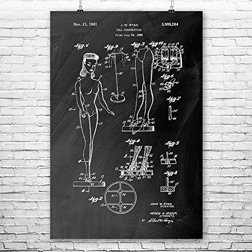 Doll Construction Poster Art Print, Barbie, Barbie Poster, Barbie Wall Art, Barbie Doll, Barbie Patent, Barbie Gift Chalkboard (Black) (18
