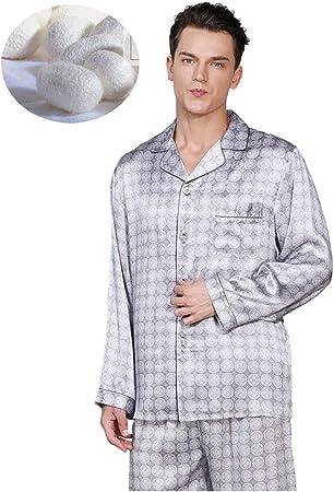 qazxsw Camisón para Hombre Pijama de Seda 100% Pijama de Seda ...
