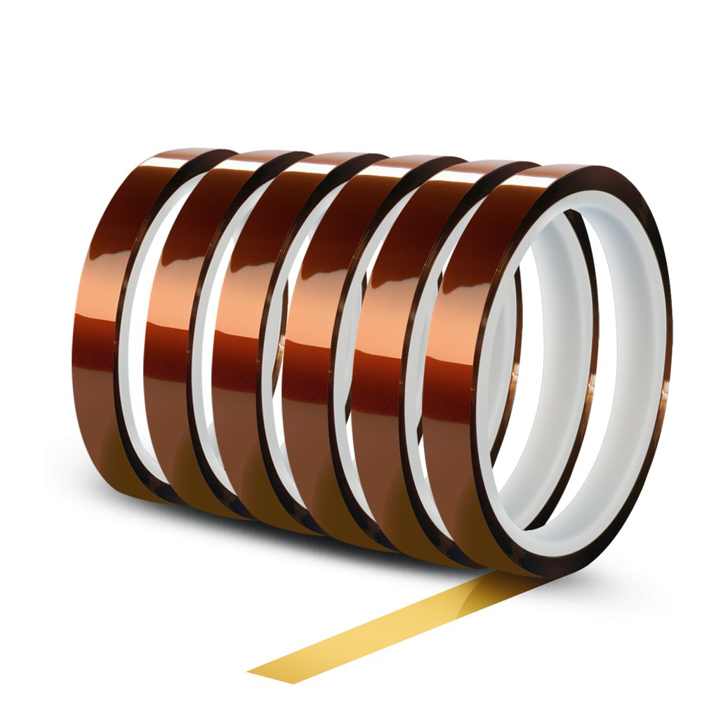 WIRESTER 5 Rolls 10mm X 30m 3D Printers Electrical High Temperature Heat Resistant Tape Electronic Polyimide Tape for Masking 100ft Heat Transfer Vinyl Soldering