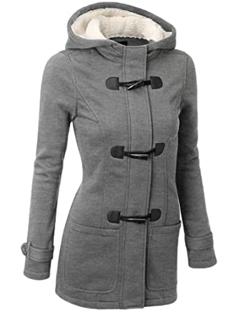 magasin en ligne en vente en ligne à vendre YOUJIA Manteau Caban à Capuche Laine Mélangée Long Chaud Veste Zippé  Blouson a Capuche Hiver pour Femme Original Vestes et Manteaux