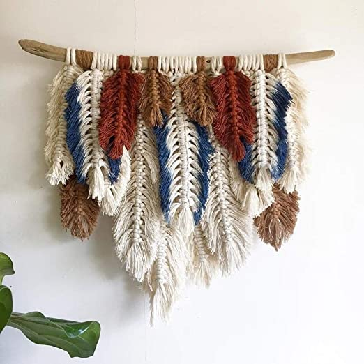 Hand Woven Macrame Wall Hanging Tapestry Bohemian Tassel Knitted Ornament Decor