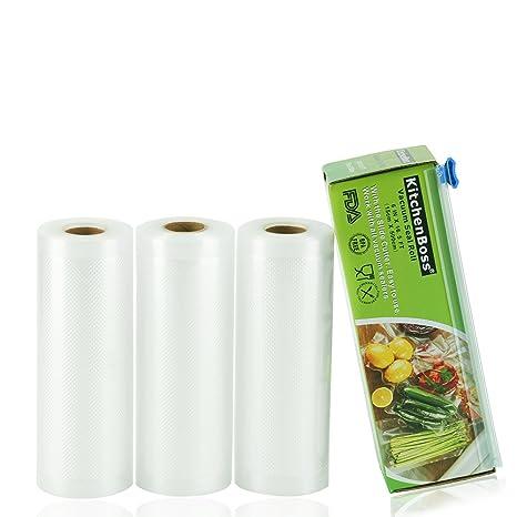 KitchenBoss Bolsas de Vacío 3 Rolls 15x500cm con Caja de Corte (No Más Tijeras) para Almacenaje de Alimentos,Sous Vide Cocina, Aprobación de la FDA y ...
