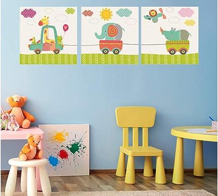 Oedim - Pack de 3 Cuadros Infantiles Cartón Ecológico Animalitos en Coche |30 x 30 cm | Decoración Habitación Diseño Elegante | Cantos Impresos |: Amazon.es: Hogar