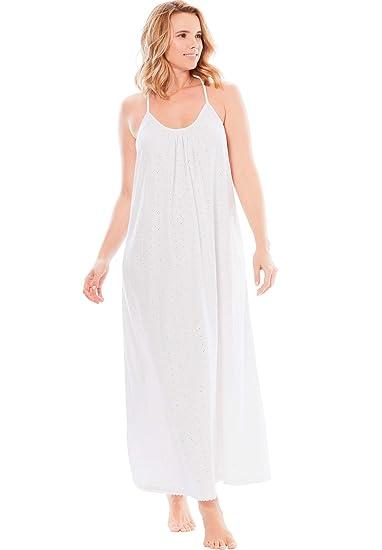 Dreams & Co. Women\'s Plus Size Breezy Eyelet Knit Long Nightgown