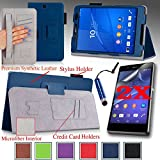 For Sony Xperia Z3 Compact Tablet 8-inch Good QUALITY PU LEATHER FOLIO PROTECTIVE SMART CASE, COVER, STAND with MICROFIBER INNER, STYLUS SLOT, Hand Strap and Credit Cards / ID Holders plus 2 Screen Protectors and Stylus! Dark BLUE.