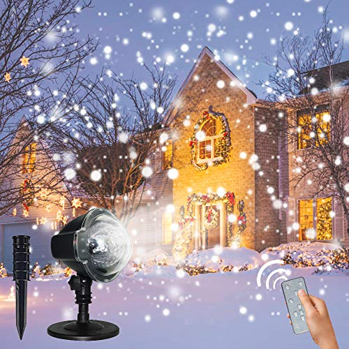 Christmas Snowflake Projector Lights, Yoyokit LED Snowfall Projector Light with Wireless Remote for Christmas, Xmas, Wedding, Outdoor, Party Decorations