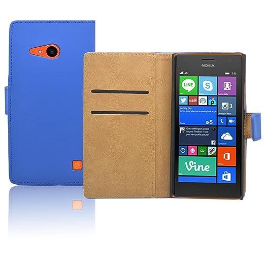178 opinioni per Nokia Lumia 735 Custodia in Pelle Premium- Custodia Blu Pu Pelle Portafoglio