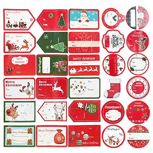 - 240Ct Christmas Gift Tag Stickers Labels - Santa Snowmen Xmas Tree Deer -Holiday Presents Decals