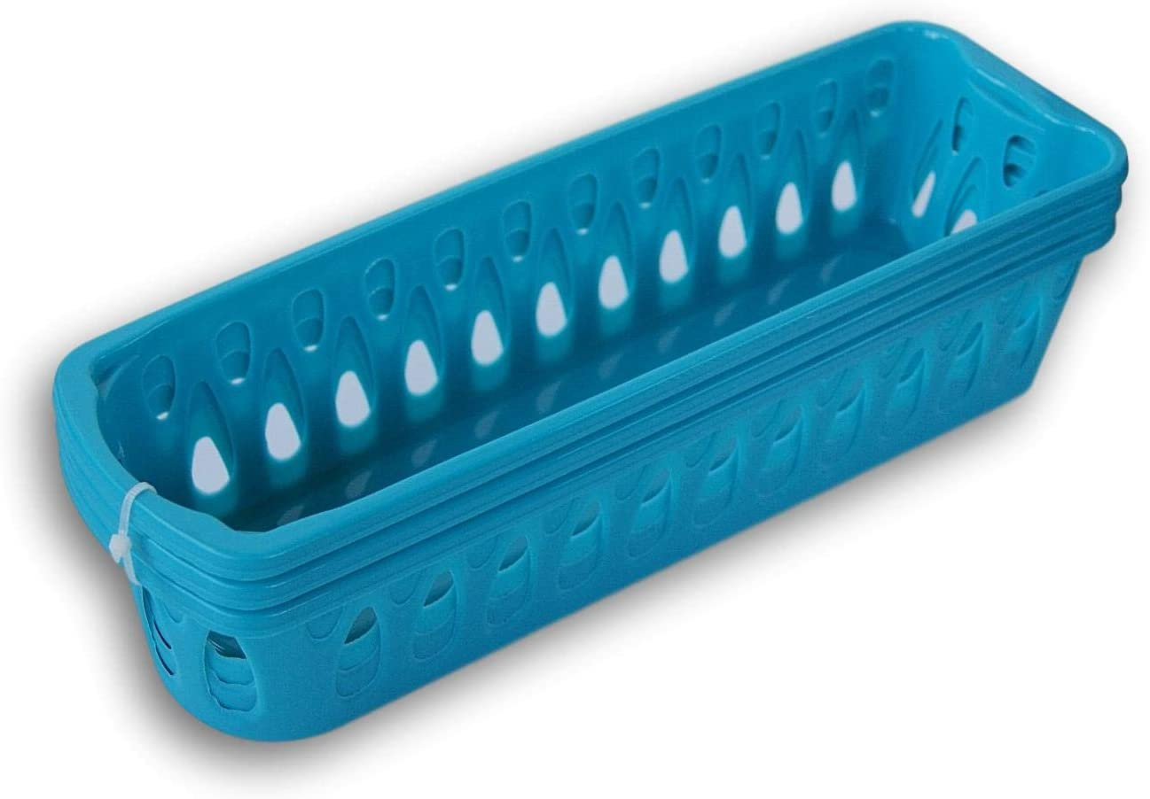 Slim Plastic Storage Trays Pencil Baskets - Set of 3 (Light Blue)