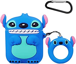 Mulafnxal Compatible with Airpods 1&2 Case,Cute Funny Cartoon Character Silicone Airpod Cover,Kawaii Fun Cool Design Skin,Fashion Animal Lilo Cases for Girls Kids Teens Boys Air pods (Blue Stitch 3D)