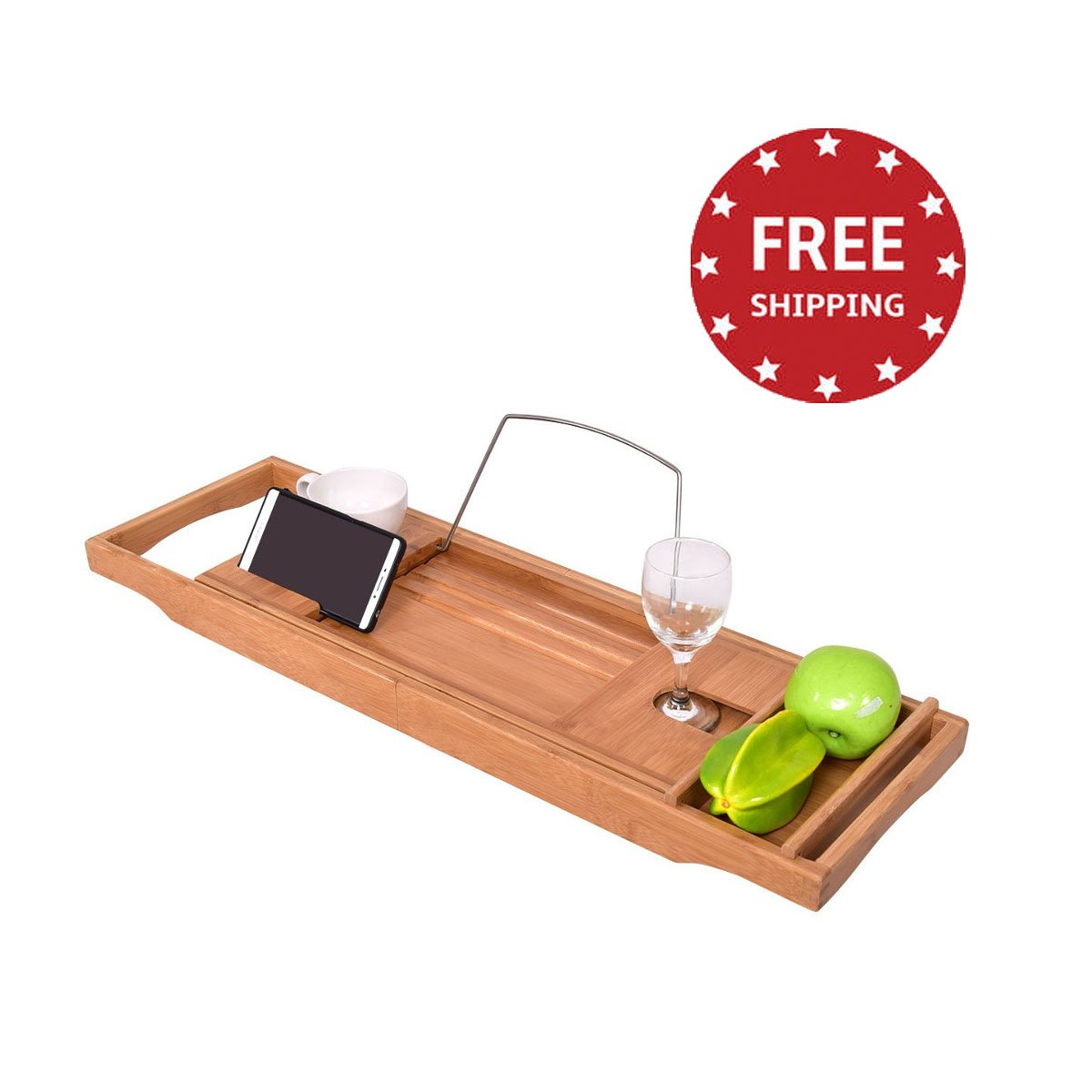 Bamboo Bathtub Caddy Tray Adjustable with Extending Sides Book Cellphone Tablet Holder Glass Holder Home Spa & e-book by jn.widetrade
