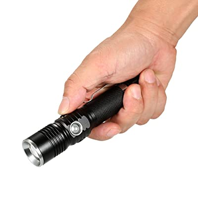Lixada Lampe De Poche Usb Rechargeable Telescopique Zoomable Torche