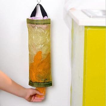 STRIR Organizador de Bolsas Hanging Mesh Rubbish, 1pcs Portavasos Innovador Plegable, Bolsas de plástico Transparente/Dispensador de Bolsas de Basura para ...