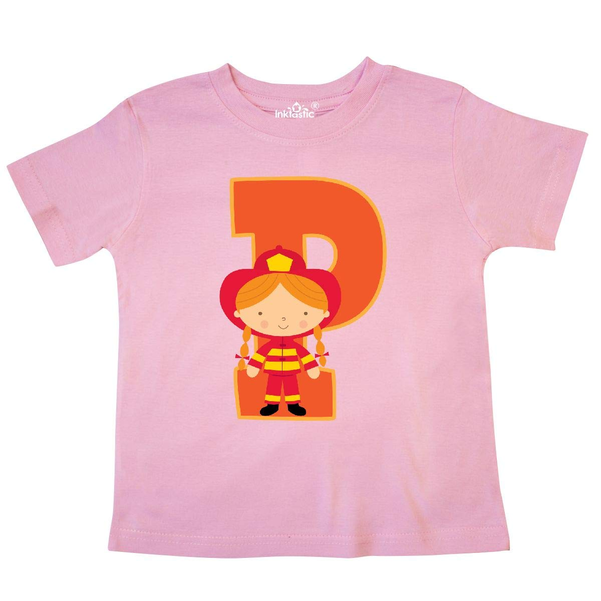 inktastic Firefighter Letter P Monogram Fire Girl Toddler T-Shirt