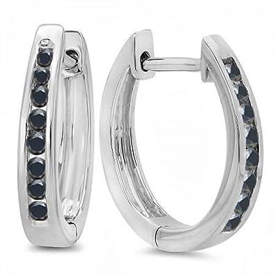 86c9c8fec1f57 Amazon.com  0.20 Carat (ctw) 18K White Gold Round Black Diamond Ladies Hoop  Earrings 1 5 CT  Jewelry