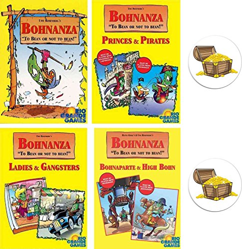 Mixed Bohnanza Card Game Bundle of Base Game and Three Expansions Plus Two Treasure Chest Buttons Bohnanza Rio Grande Games