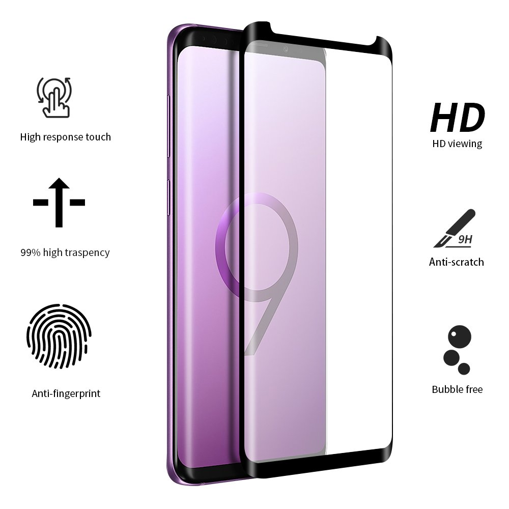 EyeO2 for Samsung Galaxy S9 Plus Screen Protector 3D Curved Full Adhesive Tempered Glass 9H Anti-scratch, Anti-fingerprint Screen Guard Edge to Edge HD Full Cover Case Friendly Screen Film 2 Pack