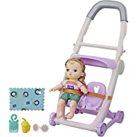 Littles by Baby Alive, Push 'n Kick Stroller, Little Ana, Blonde Hair Doll, Legs Kick, 6 Accessories, Toy for Kids Ages 3 Years Old and Up