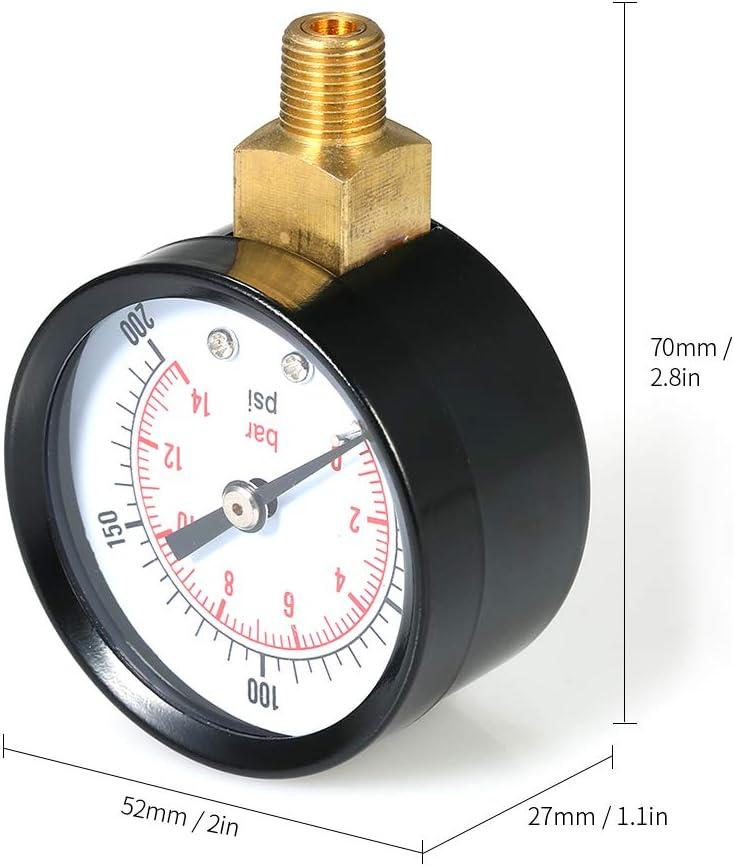 0~200psi 0~14bar Dual Scale Manometro Meccanico Pool Filter Acquario Acqua Manometro Misuratore 1//8 di pollice NPT Bottom Mount