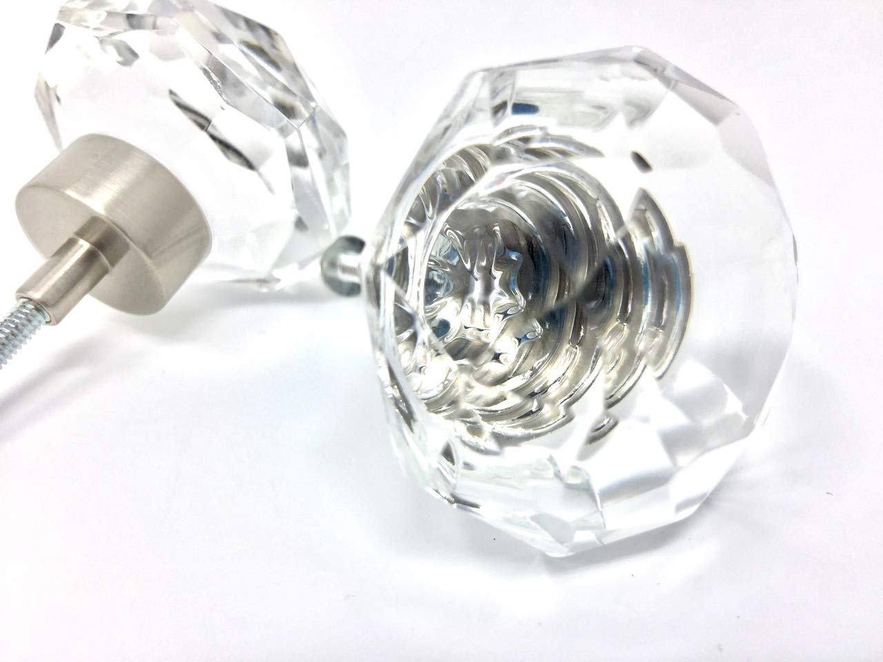 LOTS of 2 of OLD TOWN DIAMOND CUT 24% Lead Crystal Glass Ice Clear Knob Pulls - BRUSHED NICKEL trim. 1-1/4'' in diameter. Add Deco Accent to any Cabinets, Shutters, Furniture, BiFold Doors by Rousso & Mayfair